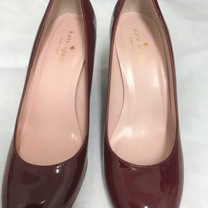 kate spade Shoes - Kate Spade burgundy Wedge patent leather size 7